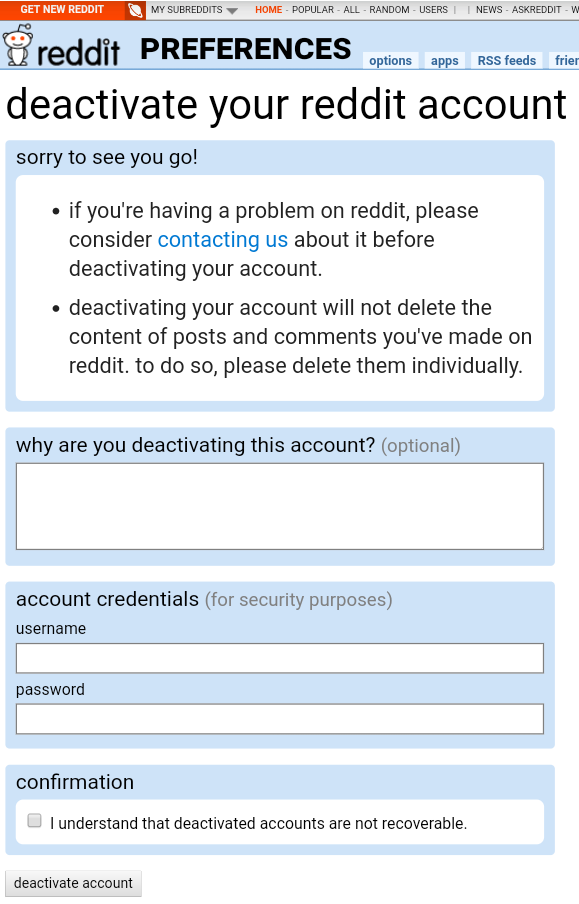 How to delete Reddit account using a mobile phone
