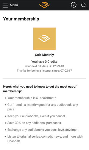Audible Subscription Membership