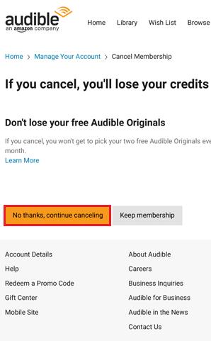 Cancel Audible Subscription