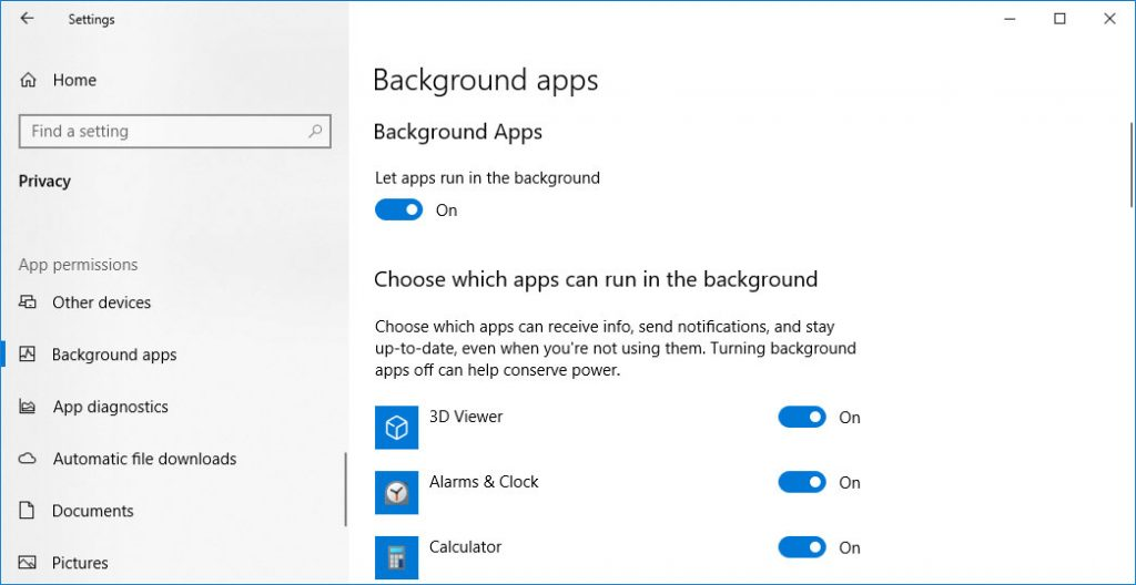 Turn Off background applications