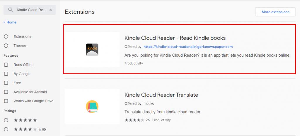 Kindle Cloud Reader Result