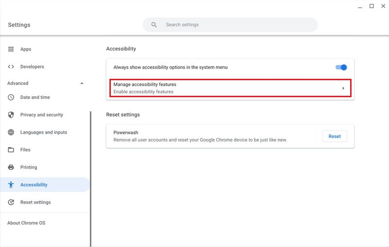 chromebook manage accessibility features