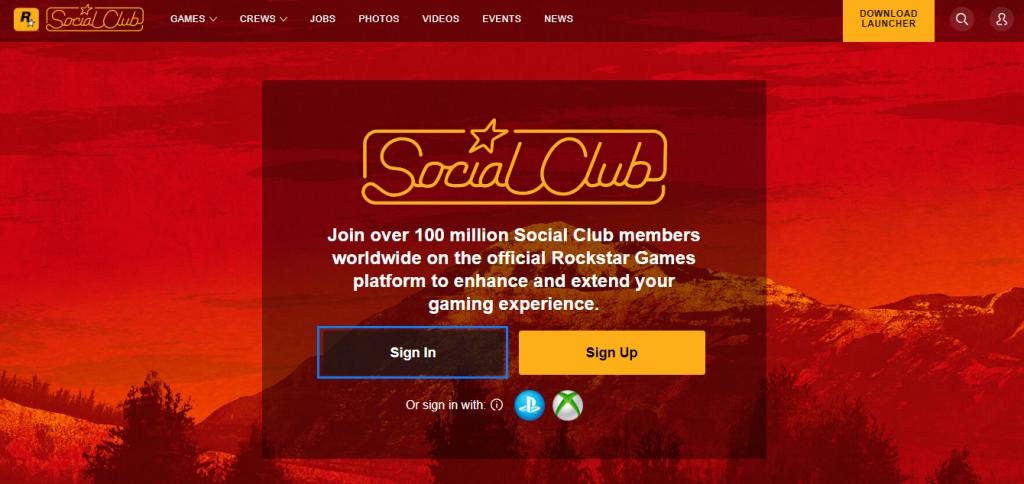 Social Club Log In